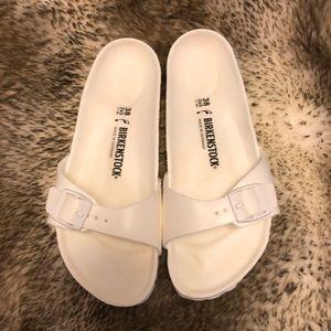 Birkenstock EVA White Madras Sandals, Sz 8